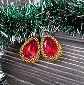 Украшения ручной работы. Ярмарка Мастеров - ручная работа Серьги с красным кристаллом. Handmade.