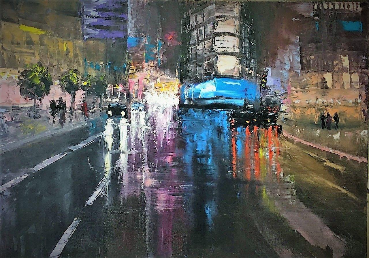 Картина маслом ночной город, Картины, Белгород,  Фото №1