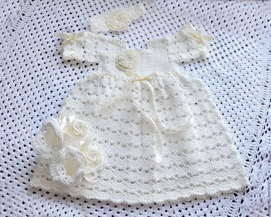 """Крестильные принадлежности ручной работы. Ярмарка Мастеров - ручная работа. Купить Комплект """"Молочная нежность"""". Handmade. Кремовый, рубашка для крещения"""