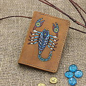 handmade. Livemaster - original item The passport cover is leather with the zodiac