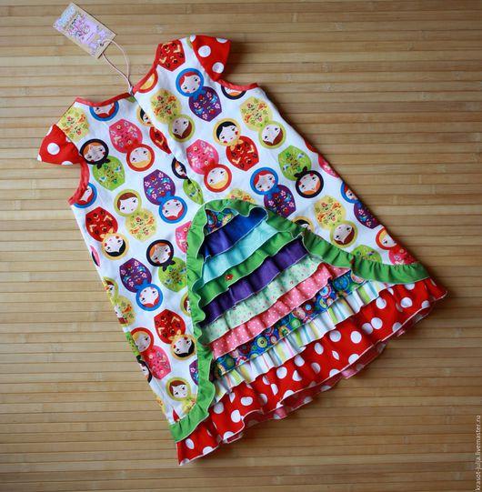 Одежда для девочек, ручной работы. Ярмарка Мастеров - ручная работа. Купить Детское платье Матрешки. Handmade. Комбинированный, нарядное платье