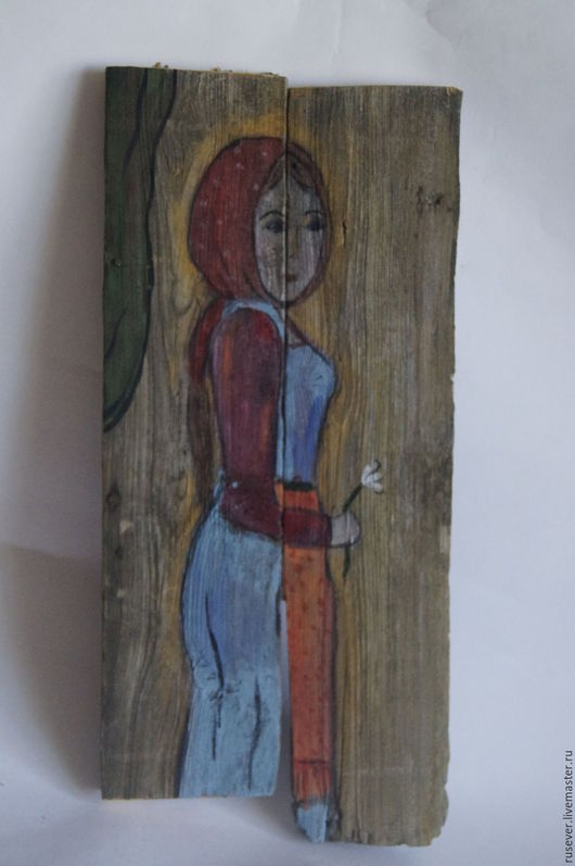 """Люди, ручной работы. Ярмарка Мастеров - ручная работа. Купить Картина на старых досках """"Девушка"""". Handmade. Картина на дереве"""
