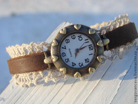 Часы ручной работы. Ярмарка Мастеров - ручная работа. Купить Часы с кружевом.. Handmade. Коричневый, часы необычные, кружево
