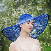 Аксессуары handmade. Livemaster - original item hat journey in blue color. Handmade.