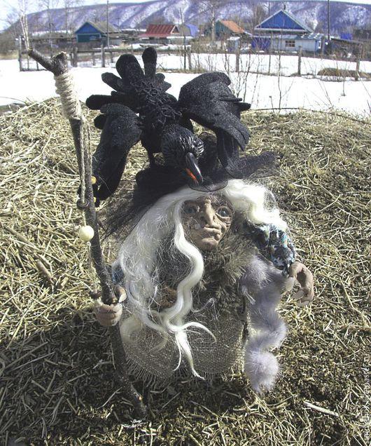 интерьерная кукла Колдунья с вороном