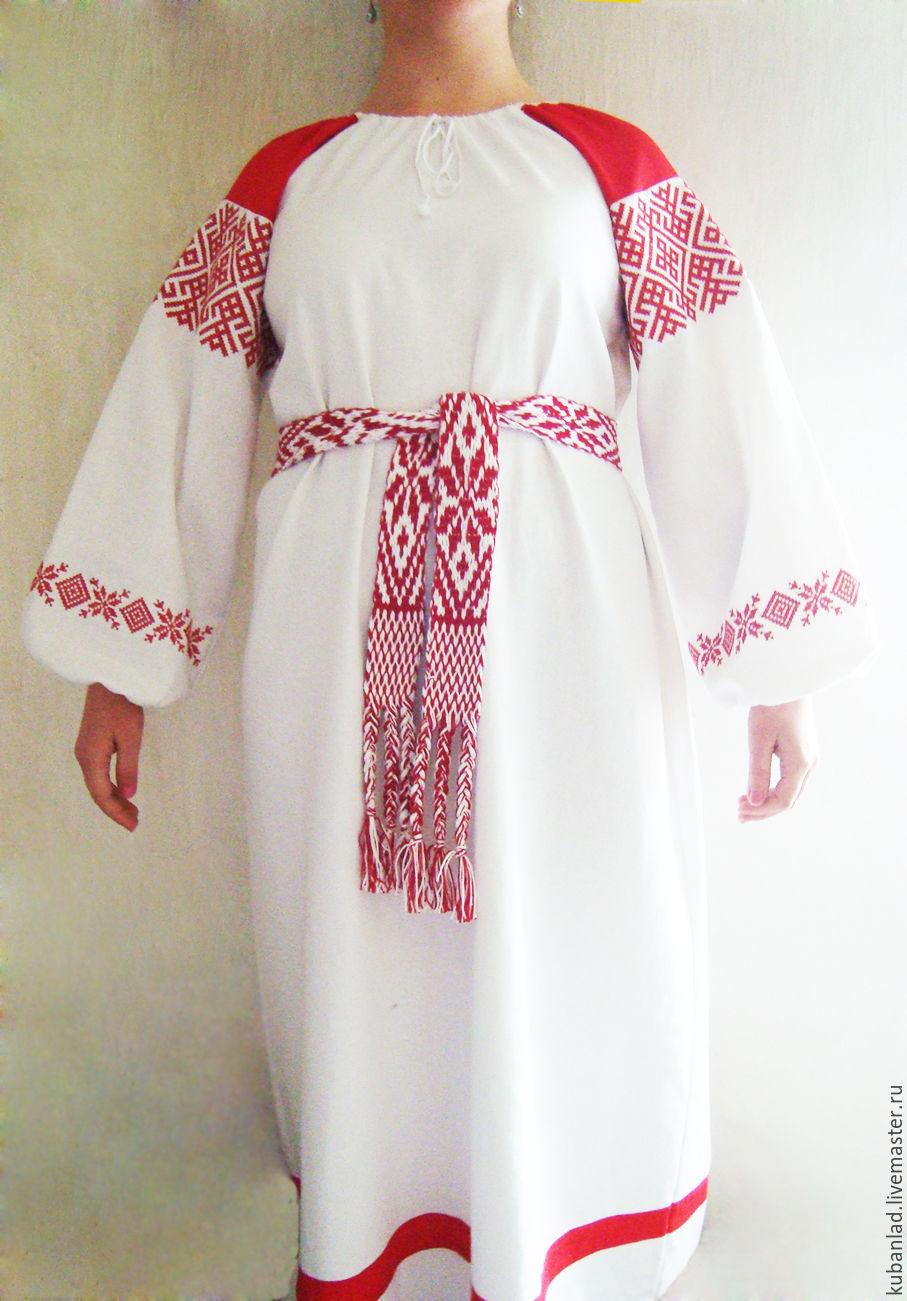 Russian embroidered dress 'miloslava', People\\\'s shirts, Starominskaya,  Фото №1