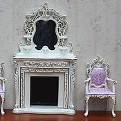 Материалы для творчества ручной работы. Ярмарка Мастеров - ручная работа Резной белый камин и стул Миниатюра 1:12 Премиум класса. Handmade.