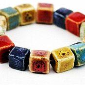 Бусины ручной работы. Ярмарка Мастеров - ручная работа Бусины керамические квадратные. Handmade.