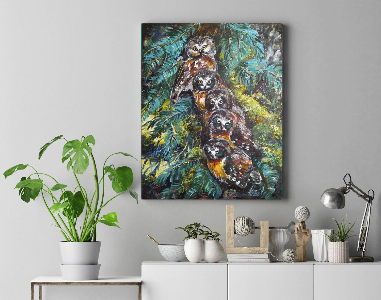 Совы, картина с птицами, лесной пейзаж, Картины, Волгоград,  Фото №1