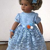 Одежда для кукол ручной работы. Ярмарка Мастеров - ручная работа Голубое гипюровое платье для кукол Готц. Handmade.