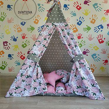 Для дома и интерьера ручной работы. Ярмарка Мастеров - ручная работа Серо-розовый вигвам для девочки. Handmade.