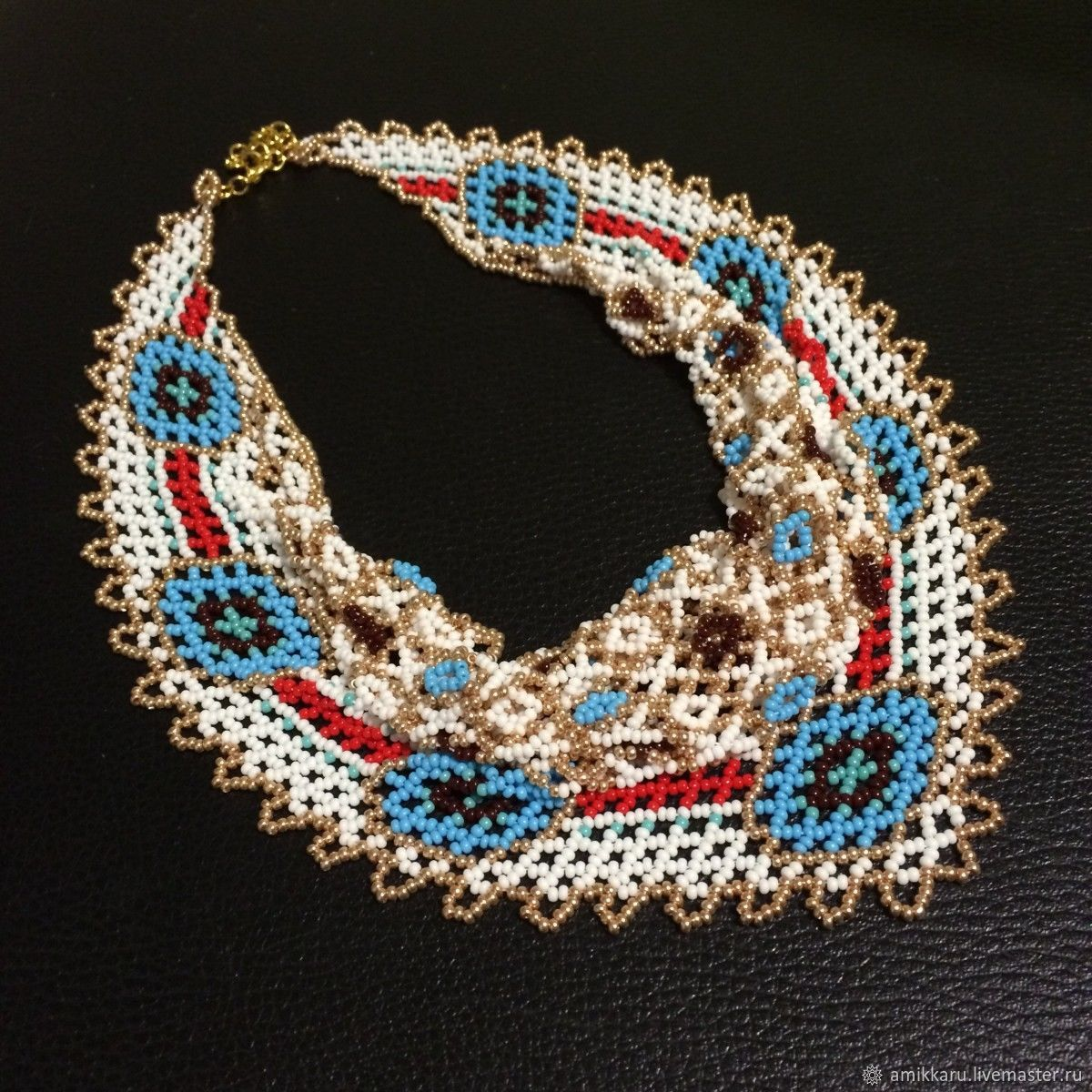 Necklace scarf beaded bright, Necklace, Kireevsk,  Фото №1