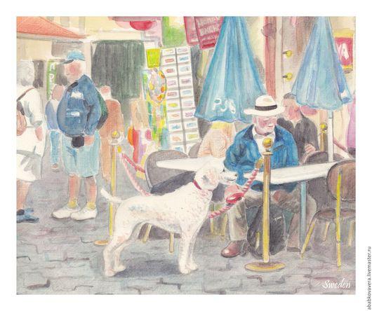 Город ручной работы. Ярмарка Мастеров - ручная работа. Купить Картина по фото. Handmade. Пейзаж, улица, картина по фото, акварель
