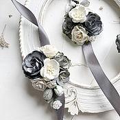 Браслеты ручной работы. Ярмарка Мастеров - ручная работа Браслеты для подружек невесты с серыми цветами. Handmade.