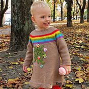Работы для детей, ручной работы. Ярмарка Мастеров - ручная работа Детское платье с радугой и совами, платье для девочки. Handmade.
