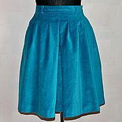 Одежда ручной работы. Ярмарка Мастеров - ручная работа Юбка бархатная голубая. Handmade.