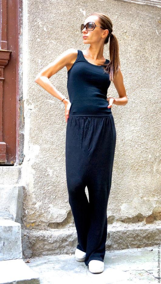 Брюки с мотней брюки черные штаны спортивные стильные брюки штаны с мотней свободные брюки свободный стиль