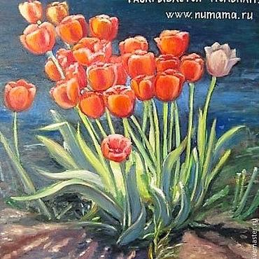 Картины и панно ручной работы. Ярмарка Мастеров - ручная работа Картина маслом Фонтан тюльпанов. Handmade.
