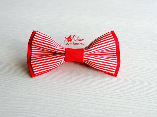 Галстуки, бабочки ручной работы. Ярмарка Мастеров - ручная работа. Купить Бабочка галстук красная полосатая, хлопок. Handmade.