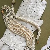 Винтаж handmade. Livemaster - original item Beads necklace and bracelet of river pearls vintage USSR 5 strands. Handmade.