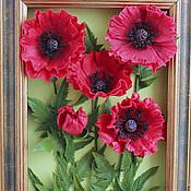Картины и панно handmade. Livemaster - original item Red Oriental poppies from polymer clay. Picture. Panels.. Handmade.