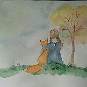 Картины и панно ручной работы. Ярмарка Мастеров - ручная работа Девочка и Лис.. Handmade.
