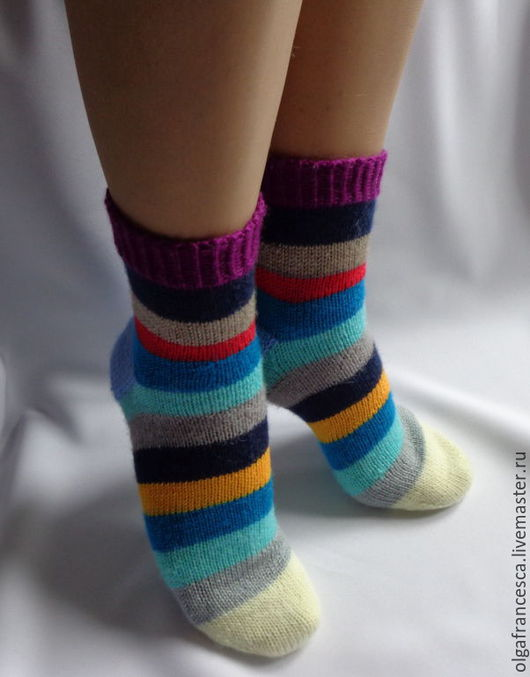 Носки, чулки ручной работы. Носки вязаные. Носочки вязаные «Полосатый рейс» из коллекции «Подарки». Olgafrancesca. Ярмарка мастеров.