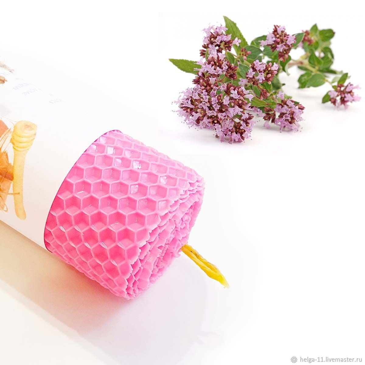 Honey candle-Pink with oregano 13h4,7,  cm, Candles, St. Petersburg,  Фото №1