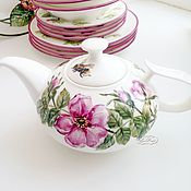 Посуда handmade. Livemaster - original item Painted porcelain. The tea pot dog Rose and bumblebee. Handmade.