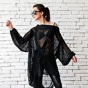 Одежда ручной работы. Ярмарка Мастеров - ручная работа Черная блузка, черная туника. Handmade.