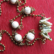 Украшения handmade. Livemaster - original item Necklace Biwa Pearl and white opal. Handmade.