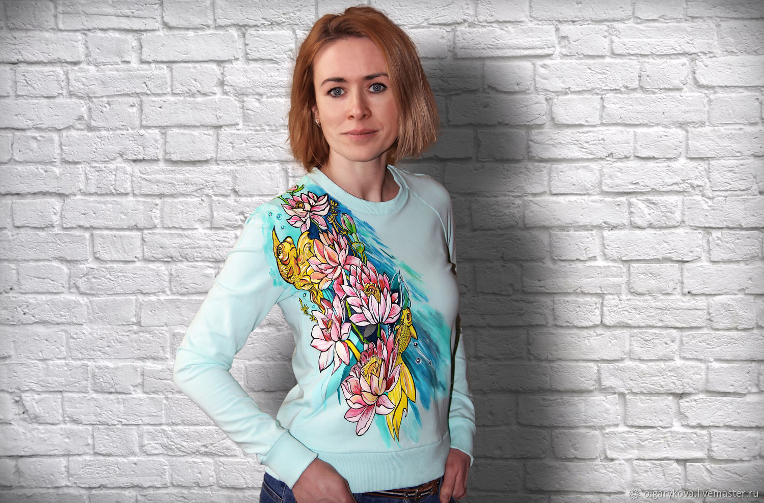 Mint sweatshirt with a pattern of Lotus lilies, goldfish hand-painted, Jumpers, St. Petersburg,  Фото №1