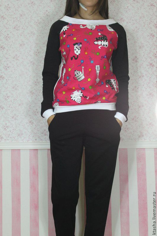 """Костюмы ручной работы. Ярмарка Мастеров - ручная работа. Купить костюм """"коты на черном"""". Handmade. Комбинированный, рисунок, костюм женский"""