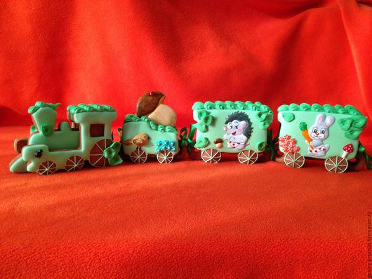 Кулинарные сувениры ручной работы. Ярмарка Мастеров - ручная работа. Купить Пряничный поезд. Handmade. Ярко-зелёный, пряник расписной