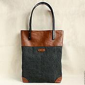 handmade. Livemaster - original item Graphite color bag made of cotton canvas and eco-leather. Handmade.