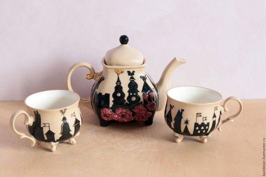 """Сервизы, чайные пары ручной работы. Ярмарка Мастеров - ручная работа. Купить Сервиз чайный фарфоровый """"Старый город"""". Handmade."""