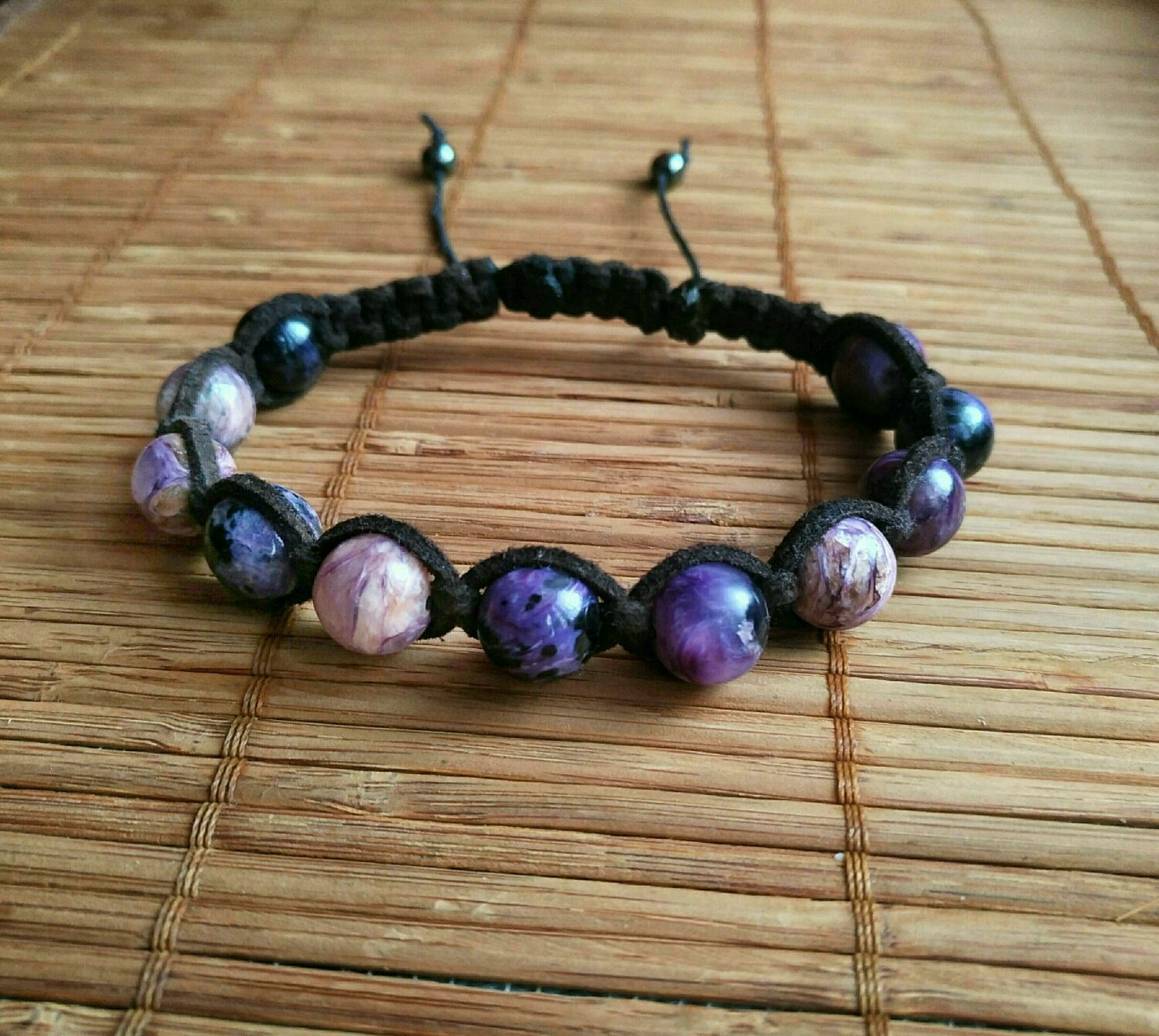 The bracelet is made of charoite in the skin, Rosary bracelet, Moscow,  Фото №1