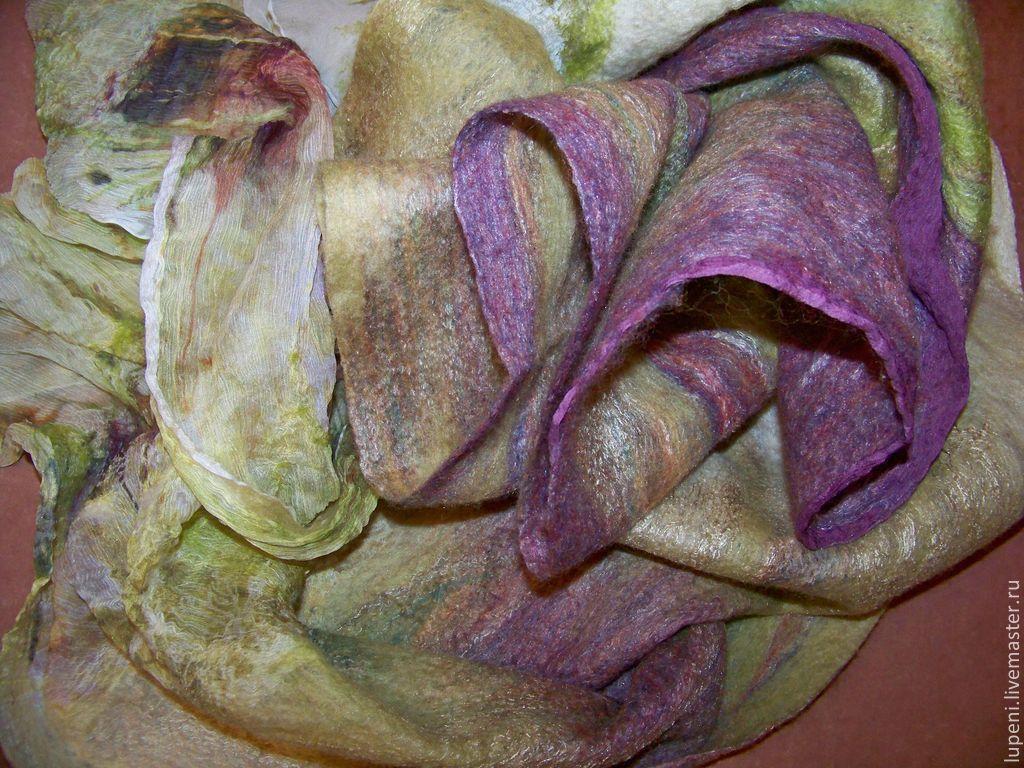 """Шали, палантины ручной работы. Ярмарка Мастеров - ручная работа. Купить Палантин """"Весенний переполох"""". Handmade. Разноцветный, шерсть и шелк"""