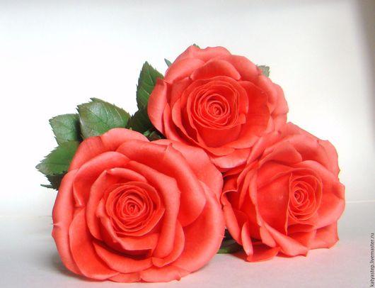 """Цветы ручной работы. Ярмарка Мастеров - ручная работа. Купить Интерьерные розы """"Коралловые бусы"""". Handmade. Коралловый, интерьерное украшение"""