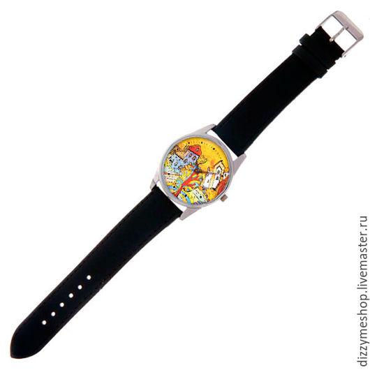 """Часы ручной работы. Ярмарка Мастеров - ручная работа. Купить Часы наручные """"Зеркальный город Осень"""". Handmade. Оранжевый"""