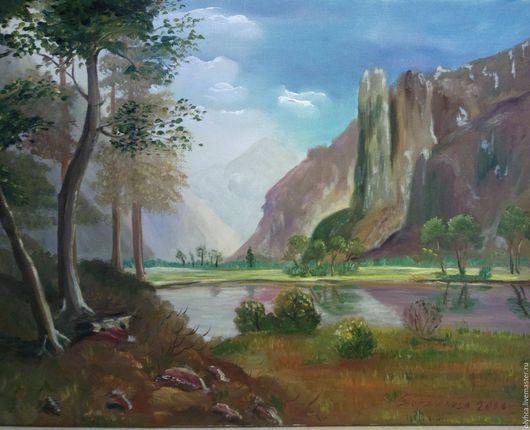Пейзаж ручной работы. Ярмарка Мастеров - ручная работа. Купить Пейзаж каньона. Handmade. Оранжевый, позитивный подарок, река, камни
