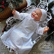"""Работы для детей, ручной работы. Ярмарка Мастеров - ручная работа Крестильная сорочка и чепчик """"Рождество"""". Handmade."""