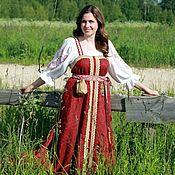 Русский стиль handmade. Livemaster - original item Cherry kosoklinny sundress. Handmade.