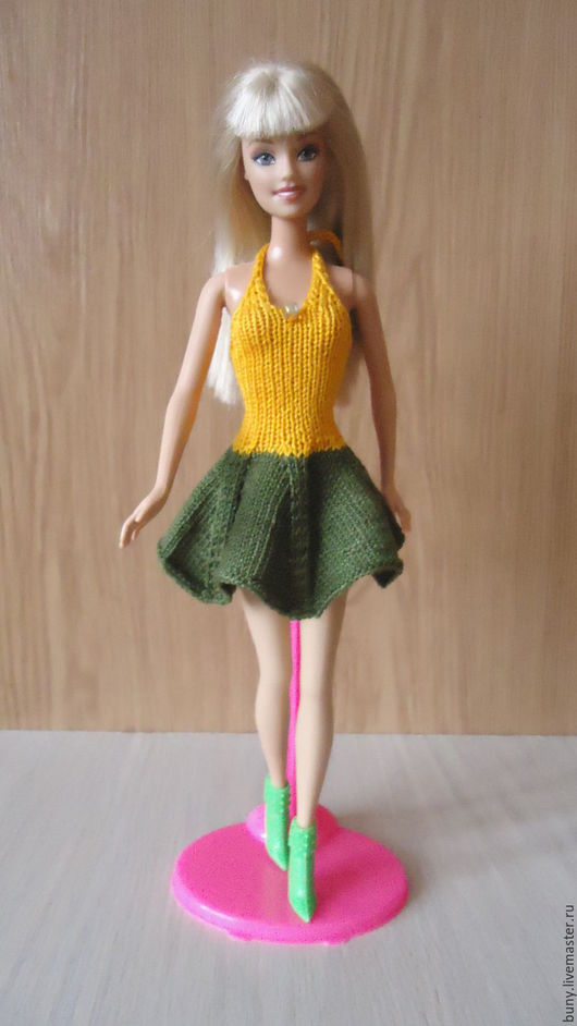 Одежда для кукол ручной работы. Ярмарка Мастеров - ручная работа. Купить Желто-зеленое летнее платье. Handmade. Тёмно-зелёный