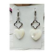 handmade. Livemaster - original item Earrings with mother of pearl and pendant. Handmade.