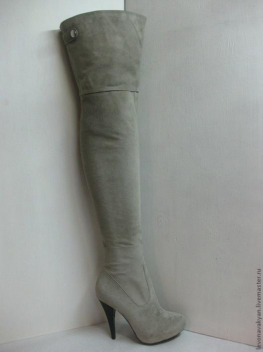 Обувь ручной работы. Ярмарка Мастеров - ручная работа. Купить Ботфорты женские. Handmade. Ботфорты, высокие ботфорты, серый