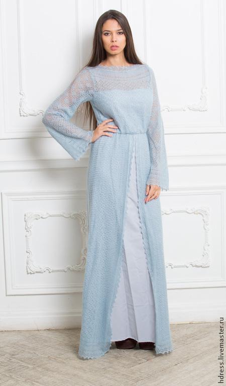 """Платья ручной работы. Ярмарка Мастеров - ручная работа. Купить """"Голубая паутинка"""". Handmade. Голубой, зимнее платье, платье на заказ"""