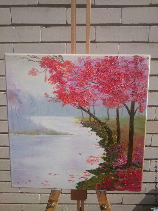 Пейзаж ручной работы. Ярмарка Мастеров - ручная работа. Купить Красные деревья. Handmade. Ярко-красный, осень
