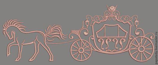 Иллюстрации ручной работы. Ярмарка Мастеров - ручная работа. Купить Дизайн машинной вышивки карета принцессы - три размера. Handmade.