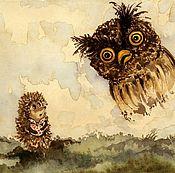 Картины и панно ручной работы. Ярмарка Мастеров - ручная работа Ежик в тумане (3 иллюстрации). Handmade.